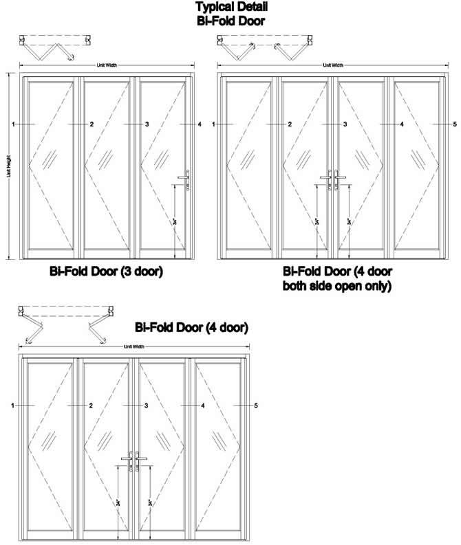 Sliding folding door detail drawing for Sliding glass doors cad